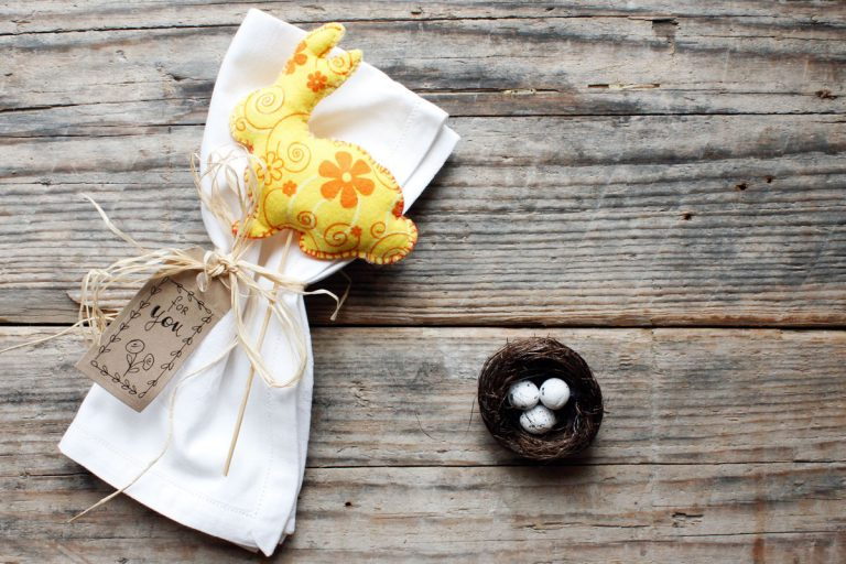 coniglio feltro segnaposto tavola pasqua